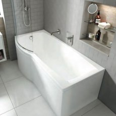 Carron Delta P-Shaped Shower Bath 1700mm x 700/800mm Left Handed - Carronite