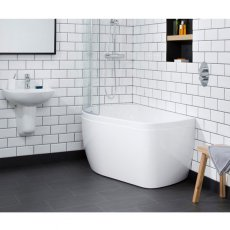 Carron Profile 1500mm x 900mm Shower Bath LH 5mm Acrylic - White
