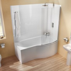 Cleargreen Ecoround Shower Bath 1700mm x 900mm/740mm - Right Handed