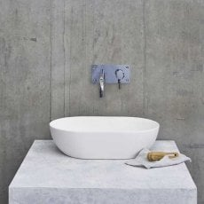 Clearwater Formoso Clear Stone Sit-On Countertop Basin 550mm Wide - Matt White