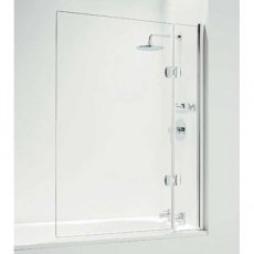 Coram Designer 1400mm High x 800mm Wide Hinged Square Bath Screen with Basket - 5mm Glass