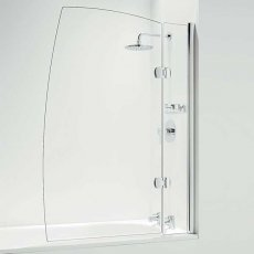 Coram Designer 1400mm High x 800mm Wide Hinged Sail Bath Screen with Basket - 5mm Glass