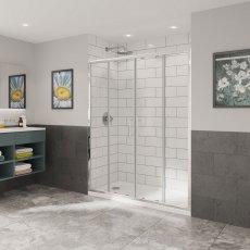Coram Optima 6 Double Sliding Shower Door 1700mm Wide - 6mm Plain Glass
