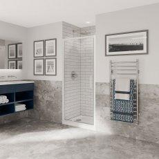 Coram Optima 6 White Pivot Shower Door 760mm Wide - 6mm Plain Glass