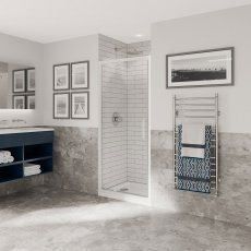 Coram Optima 6 White Pivot Shower Door 900mm Wide - 6mm Plain Glass