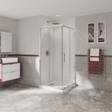 Coram Optima 6 Corner Entry Shower Enclosure 760mm x 760mm - 6mm Plain Glass