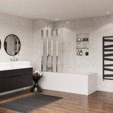 Coram 4 Panel Folding Bath Screen 1400mm High x 865mm Wide - Chrome
