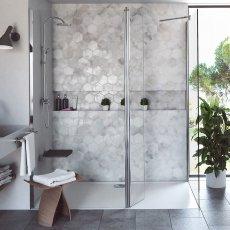 Coram Stylus Wet Room Glass Panel 1100mm Wide - 8mm Plain Glass