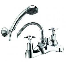 Deva Cross Handle Deck Mounted Bath Shower Mixer Tap - Chrome