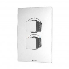 Deva Kiri Thermostatic Concealed Shower Valve with 2 Outlet Dual Handle ABS Plate - Chrome