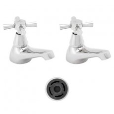 Deva Milan Basin Taps (Pair), 4 litre Flow Regulator, Chrome