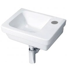 Duchy Ivy Slimline Wall Hung Basin, 360mm Wide, Right Handed 1 Tap Hole