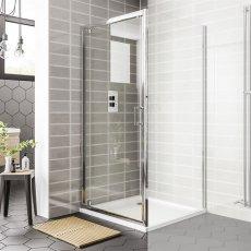 Duchy Spring Pivot Shower Door 900mm Wide - 6mm Clear Glass