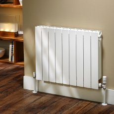 EcoRad Flat Top Aluminium Radiator 440mm High x 480mm Wide 6 Sections White
