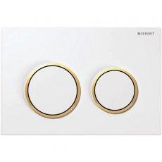 Geberit Kappa21 Dual Flush Plate - White/Gold Plated