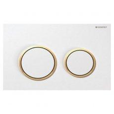 Geberit Omega20 Dual Flush Plate, White/Gold Plated
