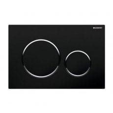 Geberit Sigma20 Dual Flush Plate, Black/Gloss Chrome