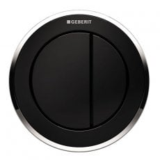 Geberit Type 10 Pneumatic Dual Flush Plate Button for 120mm and 150mm Cistern - Black/Gloss Chrome