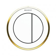 Geberit Type 10 Pneumatic Dual Flush Plate Button for Concealed Cistern - White / Gold