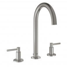 Grohe Atrio Three-Hole M-Size Basin Mixer Tap and Pop-Up Waste with Lever Handles - Supersteel