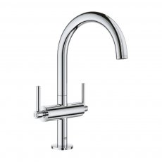 Grohe Atrio L-Size Basin Mixer Tap and Push-Open Waste with Lever Handles - Chrome