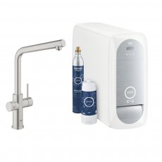 GROHE Blue Home L-Spout Kitchen Sink Mixer Tap with Filter Kit - Supersteel