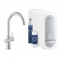 GROHE Blue Home C-Spout Kitchen Sink Mixer Tap with Filter Kit - Supersteel