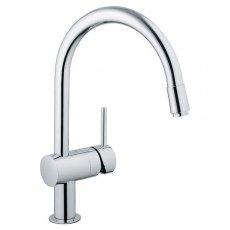 Grohe Minta Mono Kitchen Sink Mixer Tap, Pull-Out C-Spout, Single Handle, Chrome
