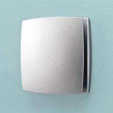 HiB Breeze Wall Mounted Matt Silver Bathroom Fan With Timer 152mm High x 152mm Wide x 33mm Deep