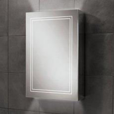 HiB Edge 50 Aluminium LED Single Door Bathroom Cabinet 700mm H x 500mm W x 140mm D