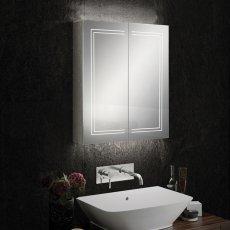 HiB Edge 60 Aluminium LED Double Door Bathroom Cabinet 700mm H x 600mm W x 140mm D