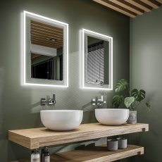 HiB Element 50 LED Bathroom Mirror with Charging Frame 700mm H x 500mm W