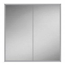 HiB Essence 80 Aluminium Double Door Bathroom Cabinet 730mm H x 830mm W x 125mm D