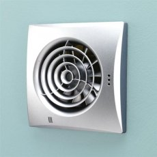 HiB Hush Wall Mounted Matt Silver Bathroom Fan With Timer 158mm High x 158mm Wide x 30mm Deep
