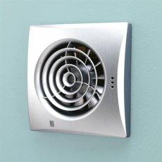 HiB Hush Wall Mounted Bathroom Fan - 158mm x 158mm - Matt Silver
