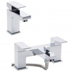 Hudson Reed Art Mono Basin Mixer Tap and Bath Shower Mixer Tap, Chrome