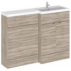 Hudson Reed Fusion RH Combination Unit with 600mm WC Unit - 1200mm Wide - Driftwood