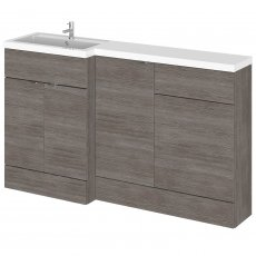 Hudson Reed Fusion LH Combination Unit with 500mm WC Unit - 1500mm Wide - Brown Grey Avola