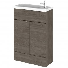 Hudson Reed Compact Fitted Vanity Unit with Basin 600mm Wide - Brown Grey Avola