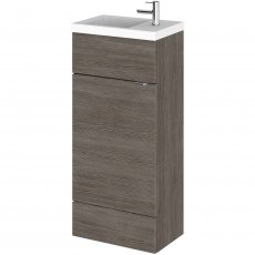 Hudson Reed Compact Fitted Vanity Unit with Basin 400mm Wide - Brown Grey Avola
