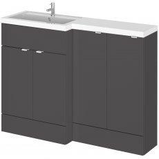 Hudson Reed Fusion LH Combination Unit with 300mm Base Unit - 1200mm Wide - Gloss Grey