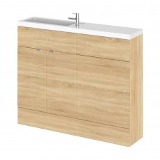 Hudson Reed Fusion Compact Combination Unit with Slimline Basin - 1100mm Wide - Natural Oak