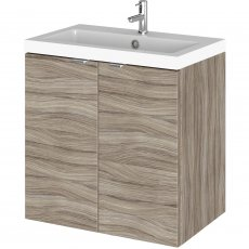 Hudson Reed Fusion Wall Hung 2-Door Vanity Unit with Basin 500mm Wide - Driftwood