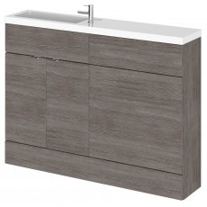 Hudson Reed Fusion Compact Combination Unit with 600mm WC Unit - 1200mm Wide - Brown Grey Avola
