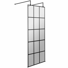 Hudson Reed Frame Effect Wet Room Screen with Support Bar and Feet 760mm Wide 8mm Glass