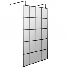 Hudson Reed Frame Effect Wet Room Screen with Support Bar and Feet 1200mm Wide 8mm Glass