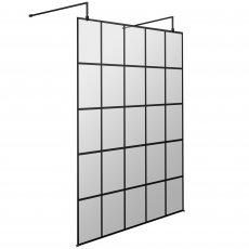 Hudson Reed Frame Effect Wet Room Screen with Support Bar and Feet 1400mm Wide 8mm Glass