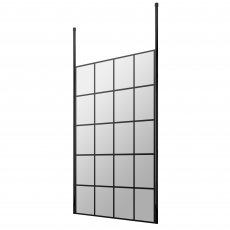 Hudson Reed Frame Effect Wet Room Screen with Ceiling Post 1100mm Wide - 8mm Glass