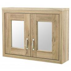 Hudson Reed Old London Mirrored Bathroom Cabinet 800mm W 2 Door Natural Walnut