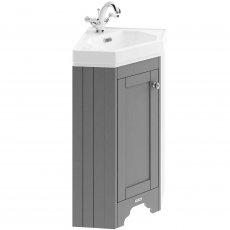 Hudson Reed Old London Floor Standing Corner Vanity Unit with Basin 595mm Wide - Storm Grey